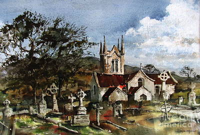 Painting -  Wicklow...the Church Of St. Macanogue by Val Byrne