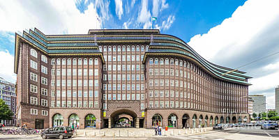 Hamburg Photograph - Wide Angle View Of Famous Chilehaus In Hamburg, Germany by JR Photography