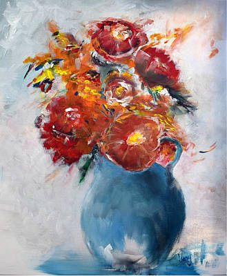 Painting - Wide-eyed Flowers In A Blue Pot by Gary Smith
