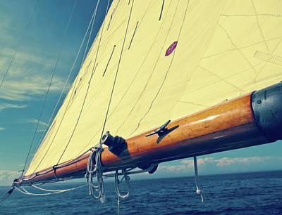 Large Sail Blue Horizon With Antique Yellow Tinting Art Print