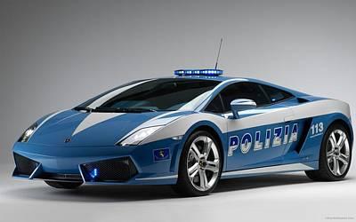 Police Car Digital Art - Widescreen Lamborghini Italian Police Car  by F S