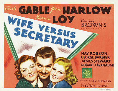 Classic Film Star Mixed Media - Wife Versus Secretary 1936 by Mountain Dreams