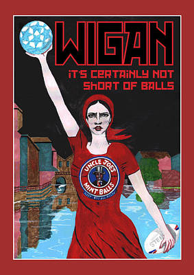 Rugby Painting - Wigan Poster by Eric Jackson
