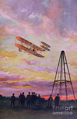 Historic Aviation Painting - Wilbur Wright In Flight by French School