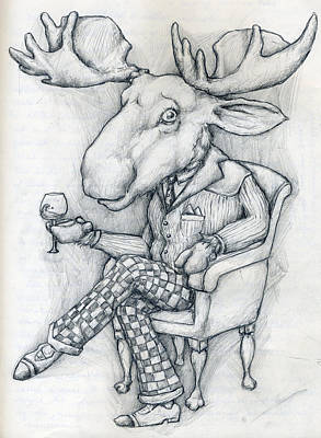 Dinner Drawing - Wilcoxmoose by Alexander M Petersen