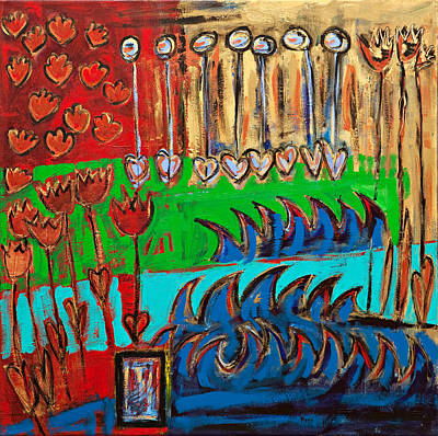 Wild Abstract Garden Art Print by Maggis Art