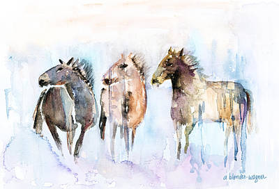 Wild Horse Painting - Wild And Free by Arline Wagner