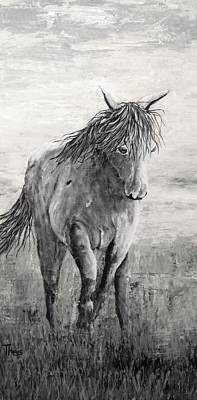 Digital Art - Wild And Free Gray Scale by Suzanne Theis