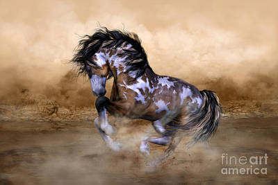 Mountains Digital Art - Wild And Free Horse Art by Shanina Conway
