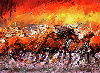 Painting - Wild And Free - Horses Running In The Wild Art by Lourry Legarde
