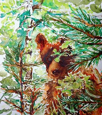 Painting - Wild Bear Peek-a-boo Watercolour by CheyAnne Sexton