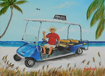Painting - Wild Bill's Free Siesta Key Beach Ride by Lloyd Dobson