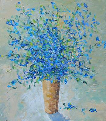 South Of France Painting - Wild Blue Floral by Frederic Payet