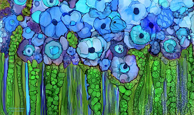 Mixed Media - Wild Blue Poppies by Carol Cavalaris