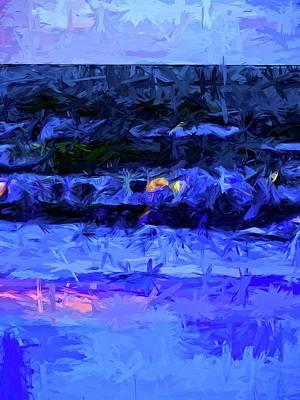 Turbulent Skies Digital Art - Wild Blue Sea Under The Lavender Sky by Jackie VanO