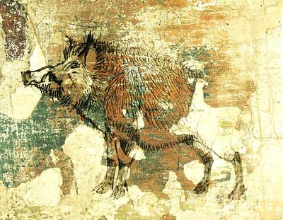 Razorback Drawing - Wild Boar Cave Painting 1 by Larry Campbell