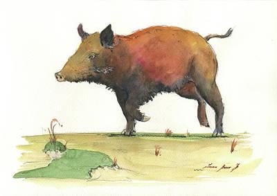 Pig Painting - Wild Boar Delgadin by Juan Bosco
