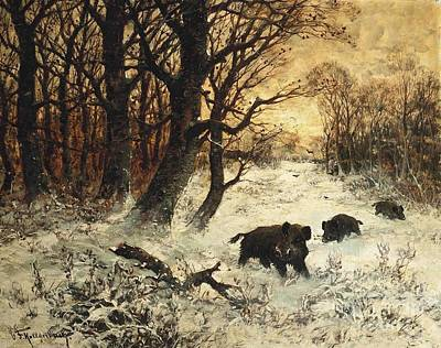Wild Boar Painting - Wild Boar Foraging In The Snow At Dusk by MotionAge Designs