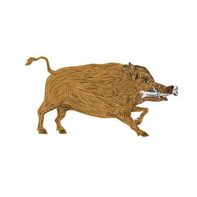 Wild Boar Razorback Bone In Mouth Walking Retro Art Print by Aloysius Patrimonio