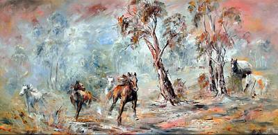 Wild Brumbies Art Print
