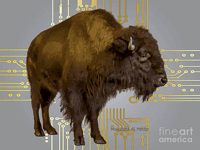Digital Art - The American Buffalo by Moustafa Al Hatter