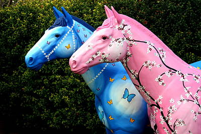 Cherry Blossoms Painting - Wild Carousel Horses by Cathy Jacobs