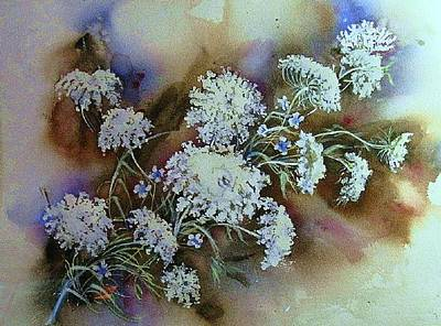Painting - Wild Carrot -queen Anne's Lace Vignette   by June Conte  Pryor