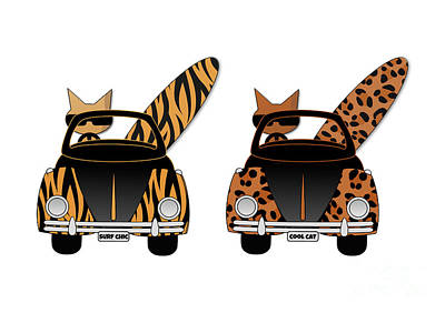 Wild Cats Go Surfing Art Print