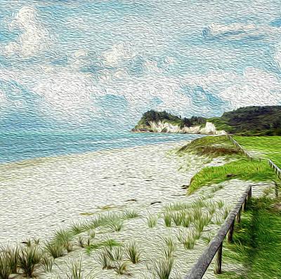 Abstract Beach Landscape Digital Art - Wild Coastline by Les Cunliffe