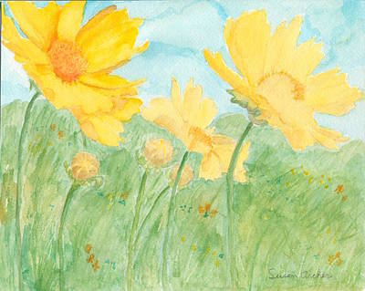 Wildflower Painting - Wild Coreopsis In The Wind Coreopsis Lanceolata  by Susan Archer