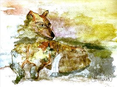 Painting - Wild Country Wolf by Denise Tomasura