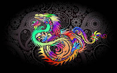 Digital Art - Wild Dragon Fantasy by Clive Littin