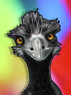 Emu Drawing - Wild-eyed Emu On Multi-colored Background by Joyce Geleynse