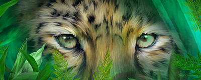 Mixed Media - Wild Eyes - Amur Leopard by Carol Cavalaris