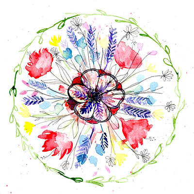 Painting - Wild Flower Botanical Mandala by Louise Gale