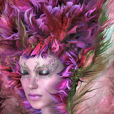 Mix Medium Mixed Media - Wild Flower Goddess by Carol Cavalaris