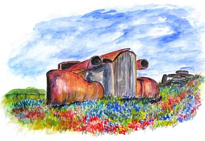 Wild Flower Junk Car Art Print by Clyde J Kell