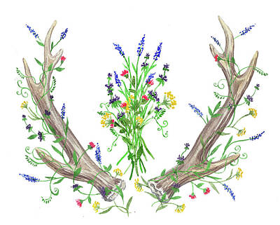 Painting - Wild Flowers And Antlers Watercolor by Irina Sztukowski