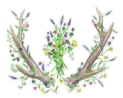 Painting - Wild Flowers And Antlers Watercolor by Irina Sztukowski