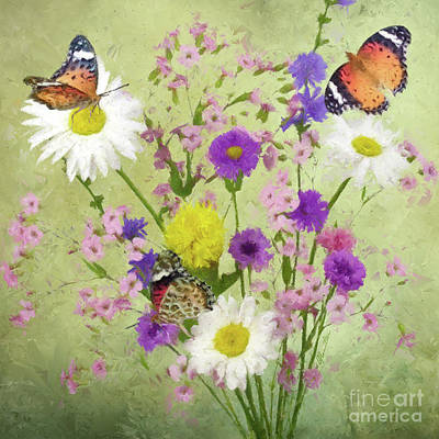 Painting - Wild Flowers And Butterflies by Olga Hamilton