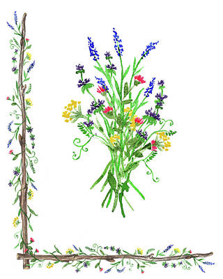 Painting - Wild Flowers Decorative Watercolor by Irina Sztukowski