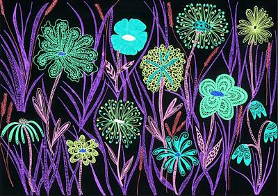 Wild Flowers Drawing - Wild Flowers Illuminated by Sharon White