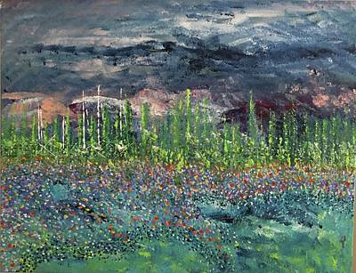 Painting - Wild Flowers On The Shore by George Riney
