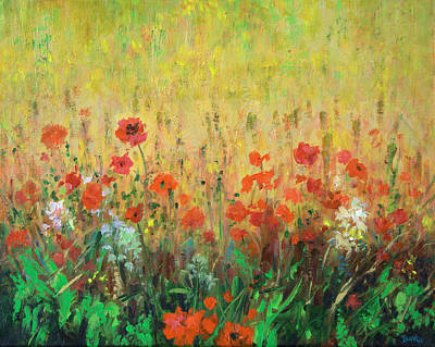 Yellow Flowers Painting - Wild Flowers by Sandra Delaney