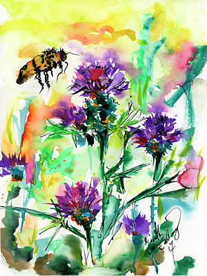 Painting - Wild Flowers Thistles And Bees by Ginette Callaway