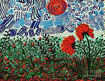 Vivid Drawing - Wild Flowers Under Wild Sky by Sarah Loft