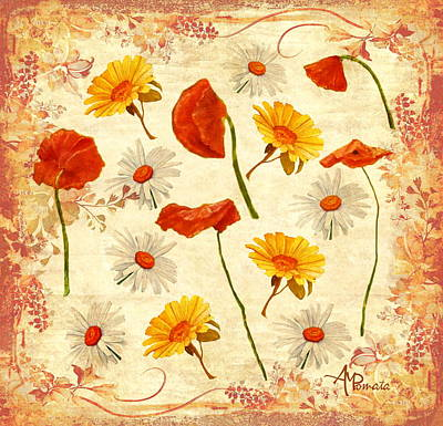 Daisy Mixed Media - Wild Flowers Vintage by Angeles M Pomata