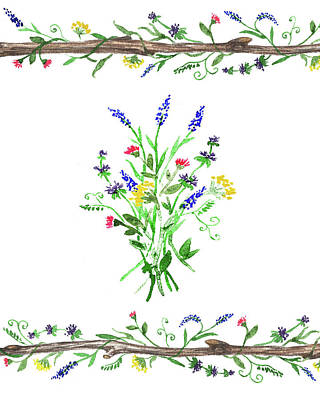 Painting - Wild Flowers Watercolor Design by Irina Sztukowski