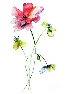 Wild Flowers Watercolor Illustration Art Print