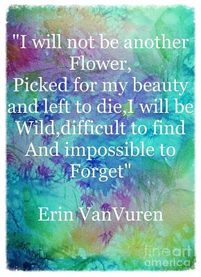 Painting - Wild Flowers With Quote Grunge Border  by Ellen Levinson